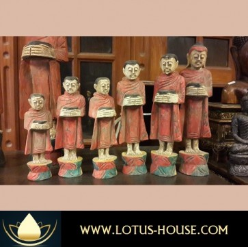 Six (6) Wooden Monks with Pot  @ Lotus House