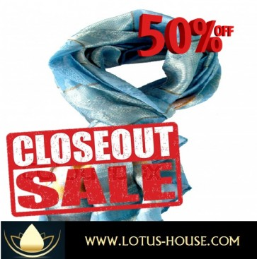 CLOSE OUT !!! 1/2 Price Sale - Blue & Gold Silk Scarf @ Lotus House - RE0949