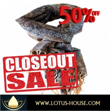 CLOSE OUT !!! 1/2 Price Sale - Elegant Grey Silk Scarf @ Lotus House - RE0959