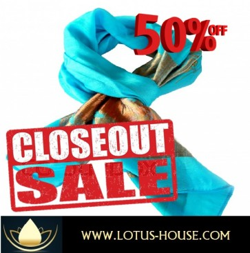 CLOSE OUT !!! 1/2 Price Sale - Simply Elegant Blue Scarf @ Lotus House - RE0956