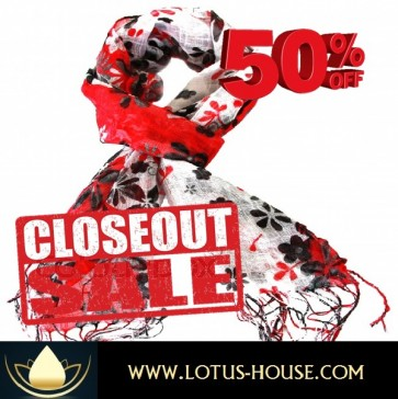CLOSE OUT !!! 1/2 Price Sale - Red Silk Scarf with a Black Floral @ Lotus House - RE0965
