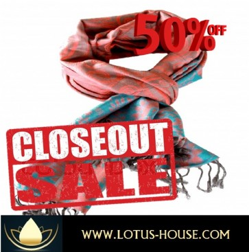 CLOSE OUT !!! 1/2 Price Sale - Steel Blue/Green with Red Silk Scarf @ Lotus House - RE0966