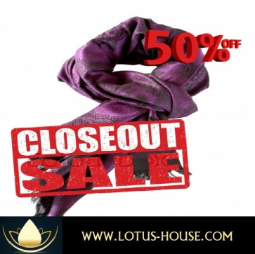 CLOSE OUT !!! 1/2 Price Sale - Black & Violet Fringe Silk Scarf @ Lotus House - RE0967
