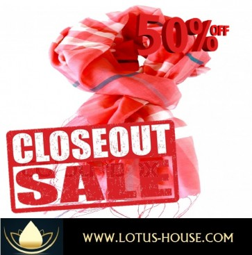 CLOSE OUT !!! 1/2 Price Sale - Red Hot Thai Silk Scarf @ Lotus House - RE0973