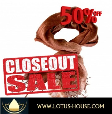 CLOSE OUT !!! 1/2 Price Sale - Light Brown - Lite Weaver Silk Scarf @ Lotus House - RE1274