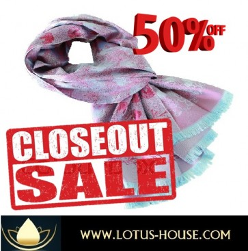 CLOSE OUT !!! 1/2 Price Sale - Aqua & Lavender Chung Silk Scarf @ Lotus House