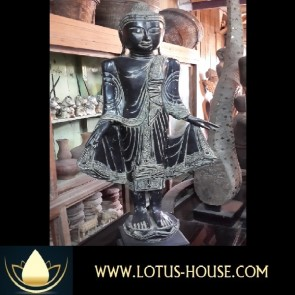 Black Wooden Buda with Robe lifted