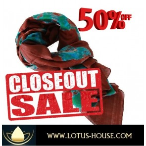 CLOSE OUT !! Green & Brown TD Silk Scarf @ Lotus House