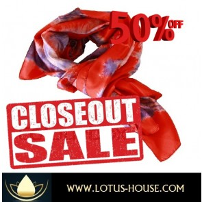 CLOSE OUT !!! 1/2 Price Sale - Red Leaf TD Silk Scarf @ Lotus House