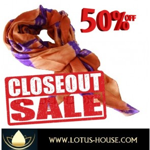 CLOSE OUT !!! 1/2 Price Sale - Golden Brown & Purple TD Silk Scarf @ Lotus House