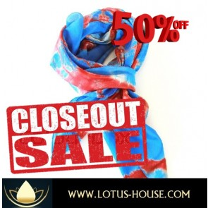 CLOSE OUT !!! 1/2 Price Sale - Blue & Red Tie Dye Scarf @ Lotus House