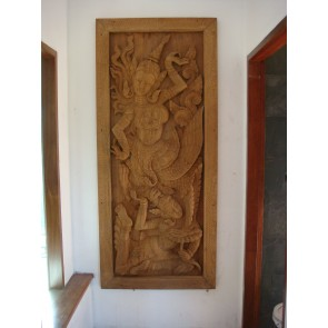 Medium Teak Carving-Dance-Burma-Myanmar-hand carved-Teakwood.