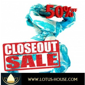 CLOSE OUT !!! 1/2 Price Sale - Blue & White Silk Scarf @ Lotus House - RE0731
