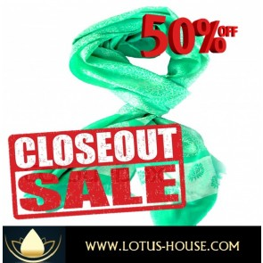 CLOSE OUT !!! 1/2 Price Sale - Mint Green Silk Scarf @ Lotus House - RE0950