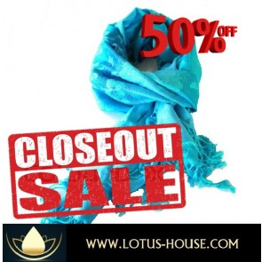 CLOSE OUT !!! 1/2 Price Sale - Deep Blue & Floral Silk Scarf @ Lotus House - RE0951