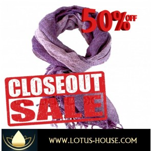 CLOSE OUT !!! 1/2 Price Sale - Purple Weave Silk Scarf @ Lotus House - RE0953