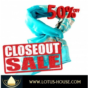 CLOSE OUT !!! 1/2 Price Sale - Delicate Lite Blue Silk Scarf @ Lotus House - RE0962