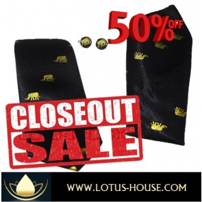 CLOSE OUT !!! 1/2 Price Sale - Chang Silk Tie - (Black) @ Lotus House