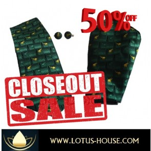CLOSE OUT !!! 1/2 Price Sale - Chang Silk Tie - (Green Geometric) @ Lotus House