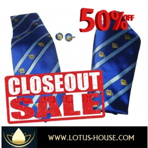 CLOSE OUT !!! 1/2 Price Sale - Chang Silk Tie - (Blue Stripe) @ Lotus House