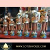 Six (6) Wooden Monks with Pot - Yellow/Blue Base